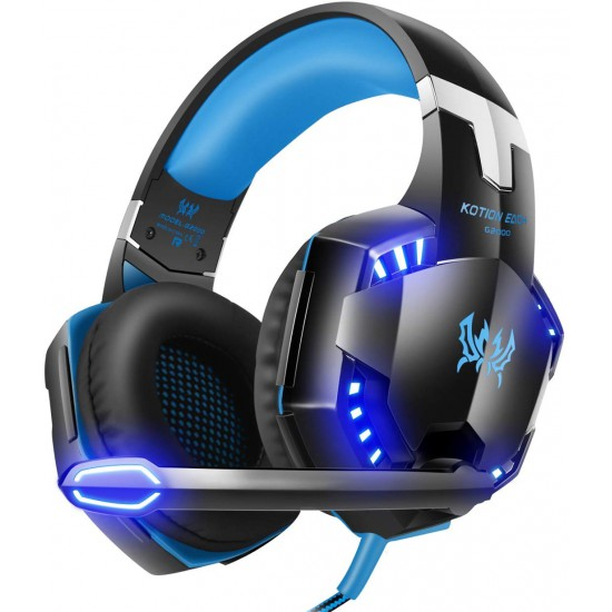 VersionTECH. G2000 Gaming Headset, Surround Stereo Gaming Headphones with Noise Cancelling Mic, LED Light & Soft Memory Earmuffs, Works with Xbox One, PS4, Nintendo Switch, PC Mac Computer Games