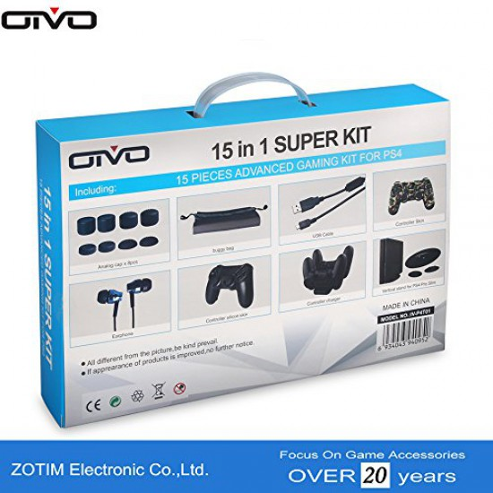 New World OTVO PS4 Slim / Pro 15 in 1 Super Kit with controller charging stand ,vertical stand,Thumb grips, usb charging cable, controller skin, silicon cover,Ear Phone