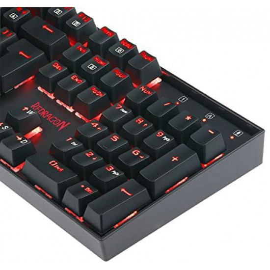 Redragon K551-UK VARA Mechanical Keyboard RED LED Backlit Gaming Keyboard 104 Key Computer Illuminated Keyboard, Blue Switches PC Gaming Keyboard ABS-Metal Design (UK-Layout)