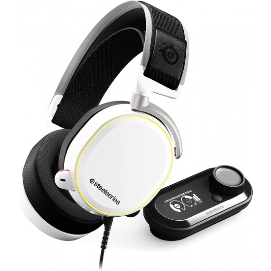 SteelSeries Arctis Pro + GameDAC Wired Gaming Headset - Certified Hi-Res Audio - Dedicated DAC and Amp - for PS5/PS4 and PC - White