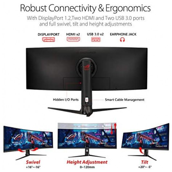 """Asus ROG Strix XG49VQ 49"""" Curved Gaming FreeSync Monitor 144Hz Dual Full HD HDR Eye Care with DP HDMI"""