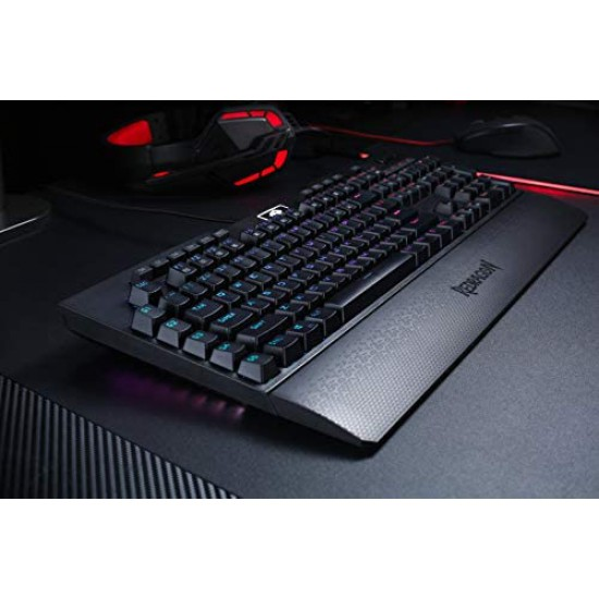 Redragon K586 Brahma RGB Mechanical Gaming Keyboard with Blue Switches, 10 Dedicated Macro Keys, Convenient Media Control, and Detachable Wrist Rest