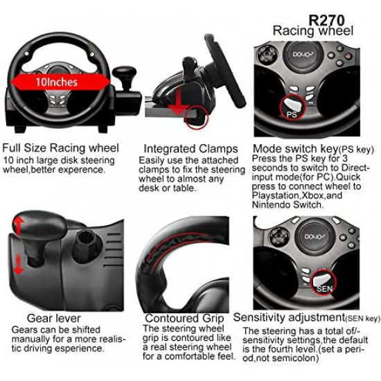 DOYO 270 Degree Motor Vibration Driving Gaming Racing Wheel with Responsive Gear and Pedals for Nintendo Switch/PC/PS3/TV BOX