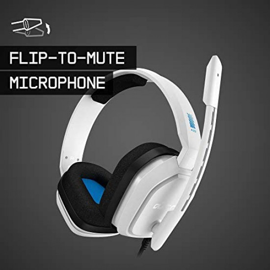 ASTRO Gaming A10 Wired Gaming Headset, Damage Resistant, ASTRO Audio, Dolby ATMOS, 3.5mm Audio Jack, Xbox Series X|S, Xbox One, PS5, PS4, Switch, PC, Mac, Mobile - White/Blue
