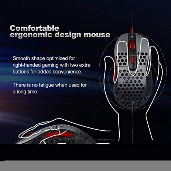 Darmo Shark N1 Light Mouse - Grey+Red - 16000 Dpi