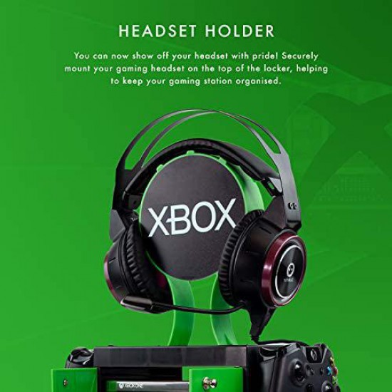Official Xbox Series X Game Storage Locker, Headphone Stand and Controller Holder - Stores 10 Games or Blu-Ray Disc Cases, 4 Xbox Controllers