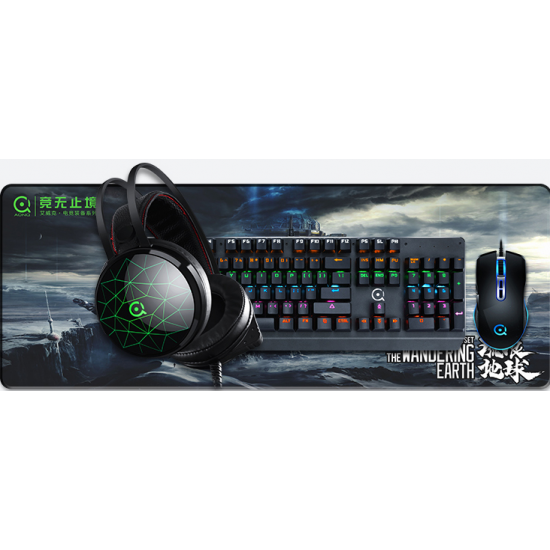 AONQ T800 Mechanical Keybord, Competitive Mouse,Gaming Headphones,Large Mouse Pad