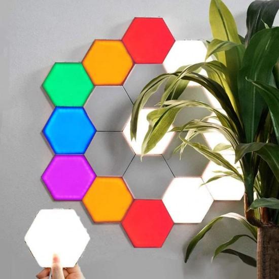 Mastermind DIY modular lighting with touch sensing, smart touch light sensor, Hexagon Quantum LED wall touch light sensor night lighting (with magnetic hexagon) 10pcs