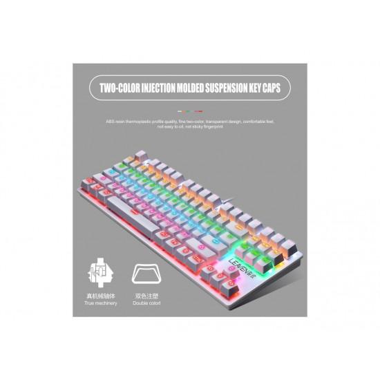 LEAVEN K550 Punk Mechanical Keyboard 87-key Green Axis Game Competitive Office Keyboard (White) (Arabic)