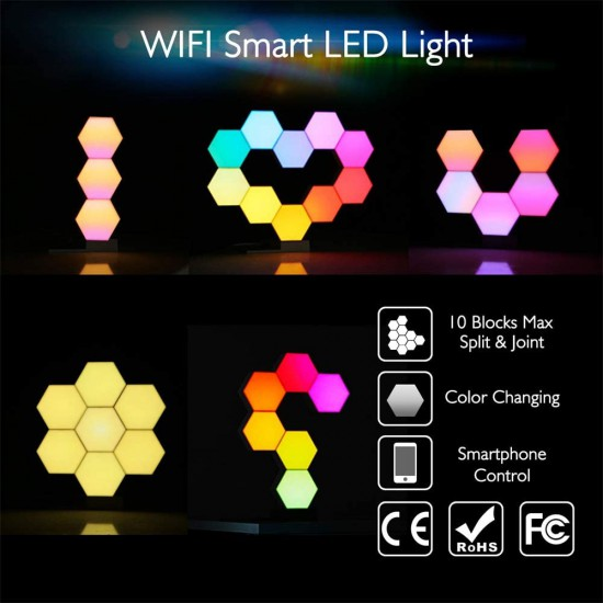 Cololight Pro – Smart LED Light Panels – 6 pcs – Colour Changing Mood Lighting with 16 Million RGB Colours – Works with Alexa and Google Assistant