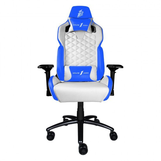 1st Player DK2 Professional Gaming Chair with Pillow and Lumbar Cushion (White/Blue, Load Capacity 160kg)