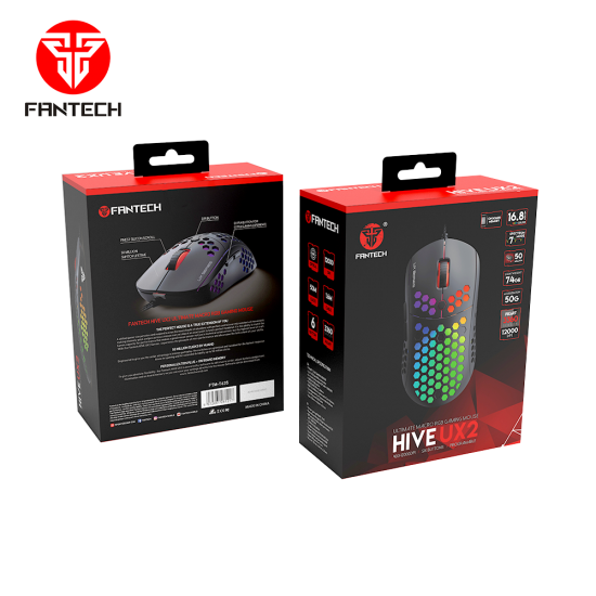 FANTECH HIVE UX2 Ultimate Macro RGB Gaming Mouse- Black
