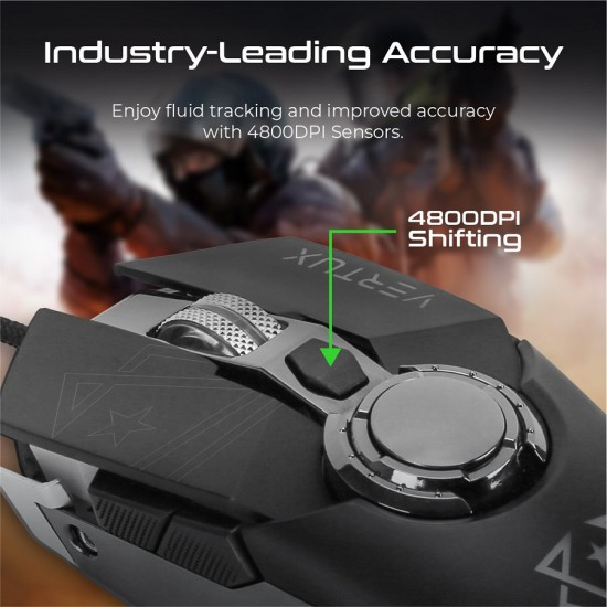 Vertux Gaming Cobalt High Accuracy Lag-Free Wired Gaming Mouse Gray