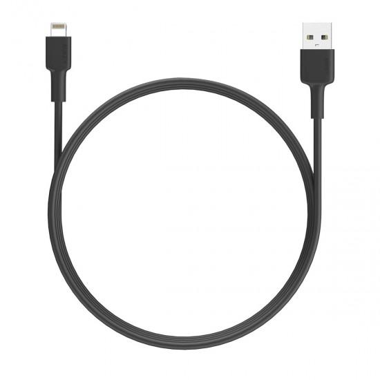 Aukey CB-BAL1 Nylon Braided MFI USB-A To Lightning Cable 1.2M Black (AKY-CB-BAL1-LGT-1.2M-BLK)