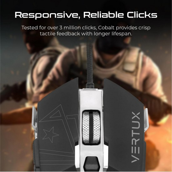 Vertux Gaming Cobalt High Accuracy Lag-Free Wired Gaming Mouse Steel