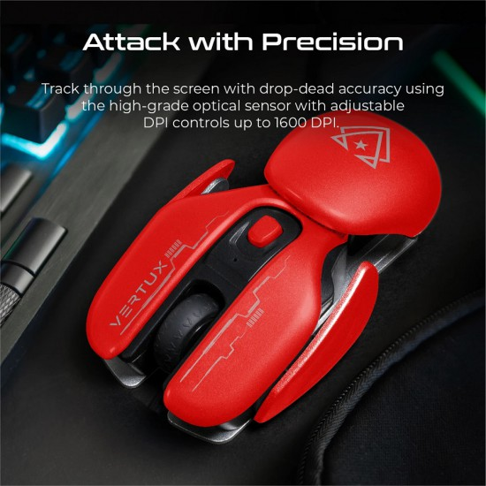 Vertux Gaming Glider High Performance Ergonomic Wireless Gaming Mouse Red