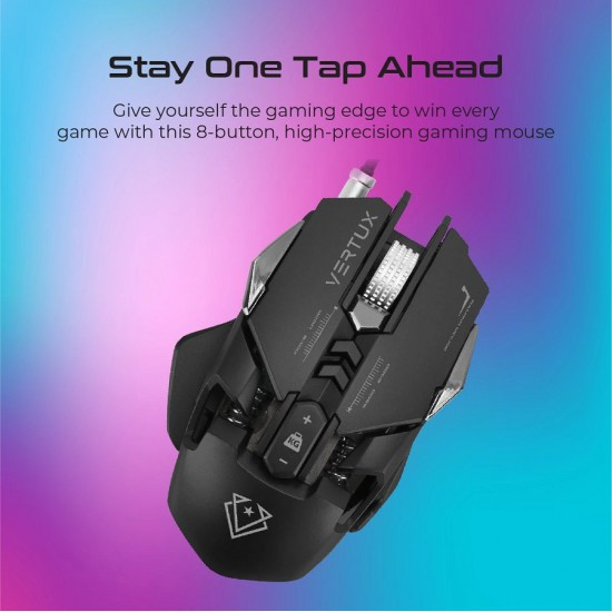Vertux Gaming Indium Gaming Optimized Precision Wired Mouse Black