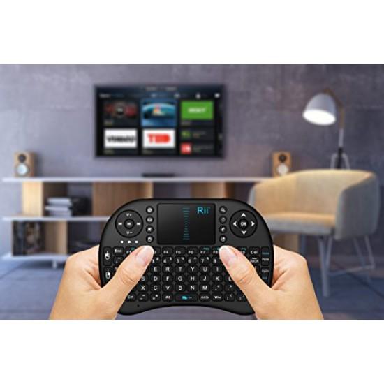 (Updated, Backlit) Rii i8+ 2.4GHz Mini Wireless Keyboard with Touchpad Mouse, LED Backlit, Rechargable Li-ion Battery-Black يدعم اللغة العربية