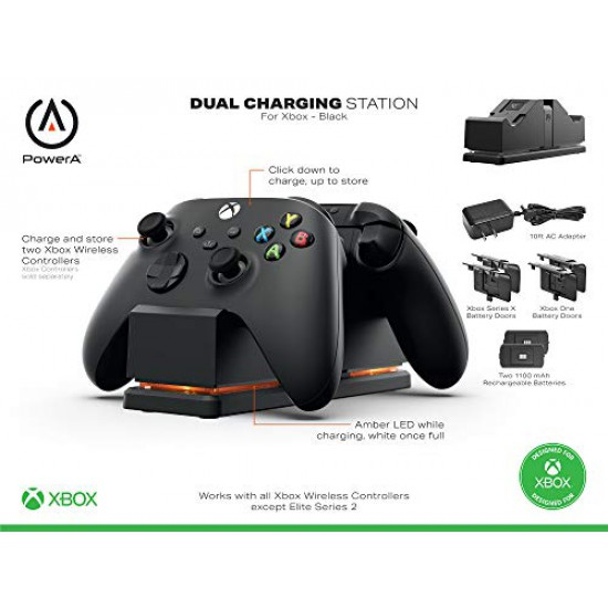 PowerA Dual Charging Station for Xbox - Black, Wireless Controller Charging, Charge, Rechargeable Battery, Xbox Series X S, Xbox One - Xbox Series X