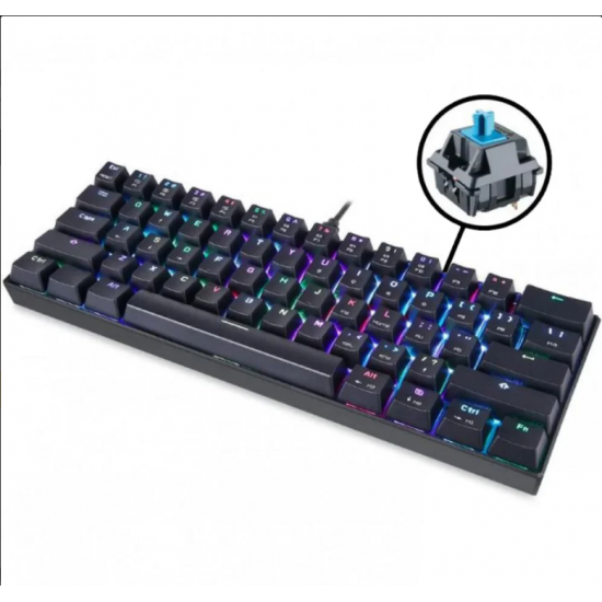 Motospeed CK61 Wired Mechanical RGB Gaming Keyboard [Black] - Blue Switches